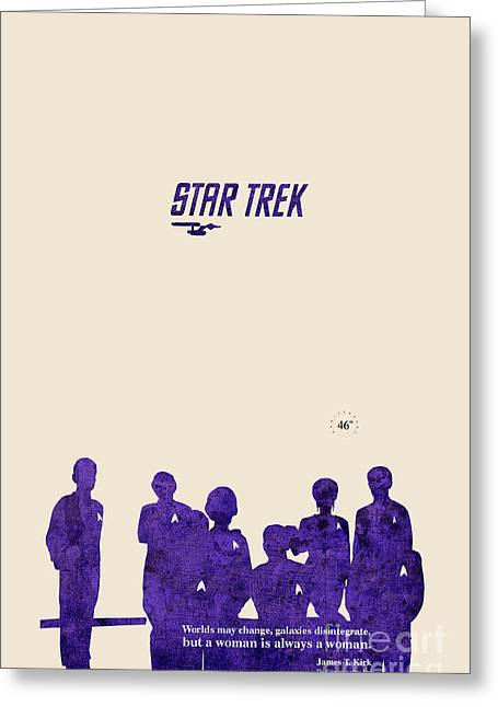 Enterprise Mixed Media Greeting Cards - All togheter - Purple Star Trek Greeting Card by Pablo Franchi