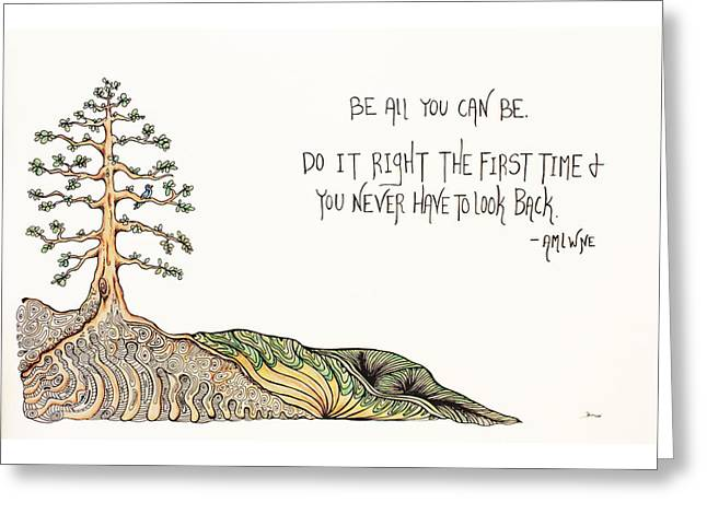 Tree Roots Drawings Greeting Cards - All you can be. Greeting Card by Kelly Morgan