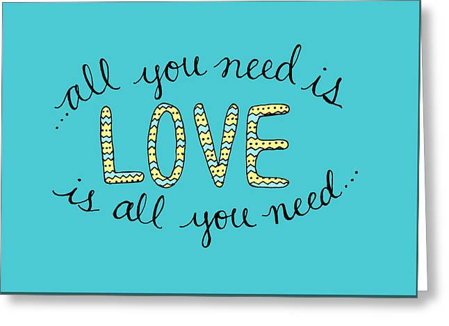 All You Need Is Love Blue And Yellow Greeting Card by Michelle Eshleman