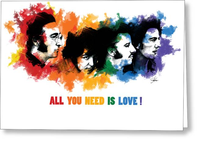 The Beatles All You Need Is Love Greeting Cards - All You Need Is Love Greeting Card by Ryan Anderson