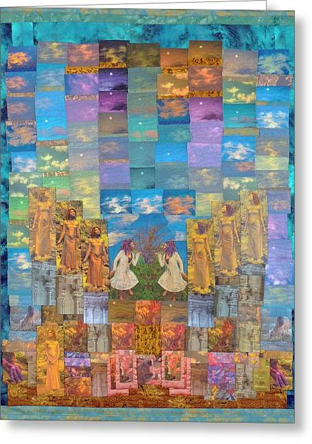 Female Figures Tapestries - Textiles Greeting Cards - All Your Dreams Come True Greeting Card by Roberta Baker