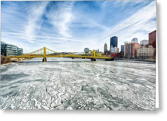 Allegheny River Frozen Over Pittsburgh Pennsylvania Greeting Card by Amy Cicconi