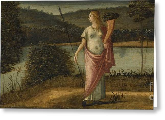 Cornucopia Paintings Greeting Cards - Allegorical Figure Of A Woman In A Landscape Holding A Spear And A Cornucopia Greeting Card by Vittore Carpaccio