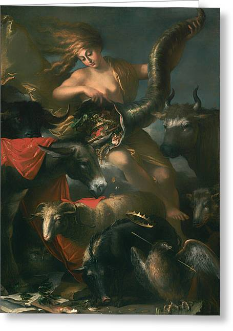 Coins Greeting Cards - Allegory Of Fortune Greeting Card by Salvator Rosa