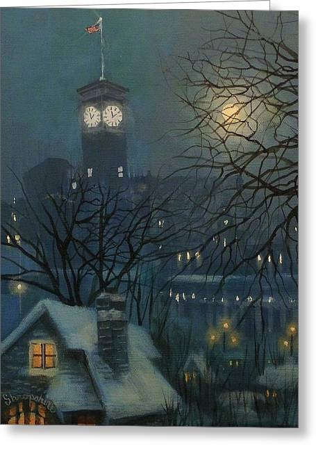 Snow Scenes Greeting Cards - Allen Bradley Clock Milwaukee Greeting Card by Tom Shropshire