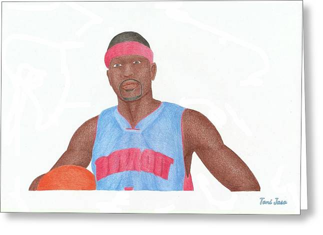 Allen Iverson Greeting Card by Toni Jaso