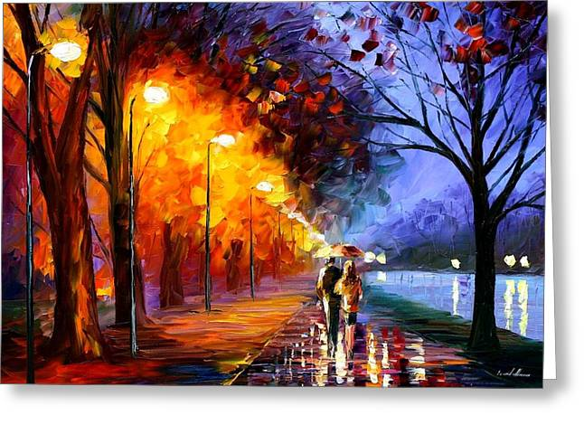 Oils Greeting Cards - Alley By The Lake Greeting Card by Leonid Afremov