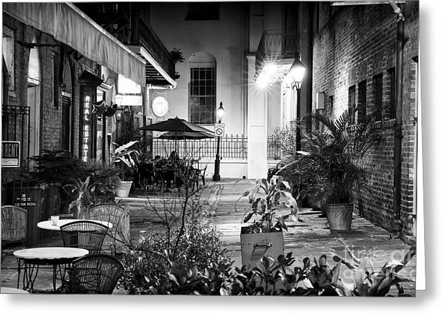 Alley Dining Greeting Card by John Rizzuto