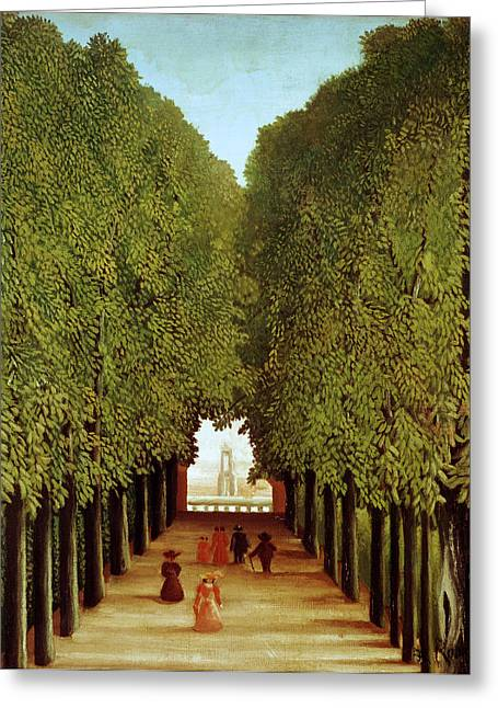Parked Greeting Cards - Alleyway in the Park Greeting Card by Henri Rousseau