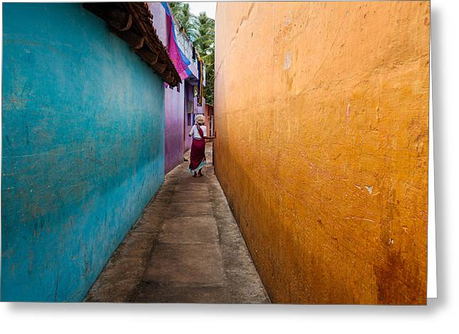 Person Greeting Cards - Alleyway Greeting Card by Marji  Lang