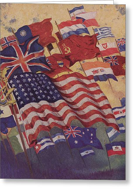 World War 2 Drawings Greeting Cards - Allied Flags - World War II  Greeting Card by American School