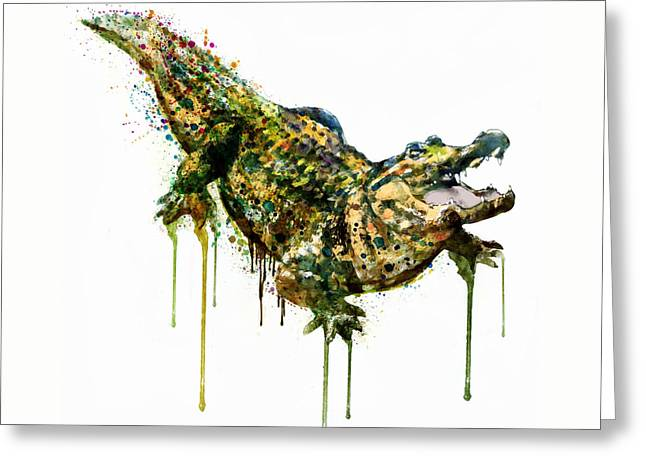 Alligator Watercolor Painting Greeting Card by Marian Voicu