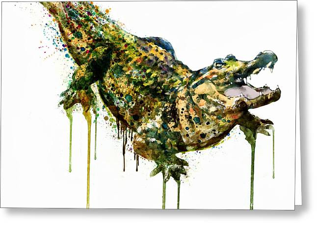 Cold Blooded Greeting Cards - Alligator watercolor painting Greeting Card by Marian Voicu