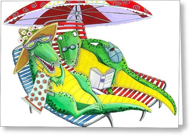 Recently Sold -  - Lounge Paintings Greeting Cards - Alligators in Love Greeting Card by Ilene Richard