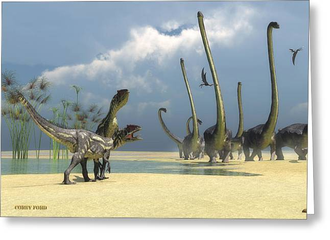 Extinction Of Species Greeting Cards - Allosaurus and Omeisaurus Dinosaurs Greeting Card by Corey Ford