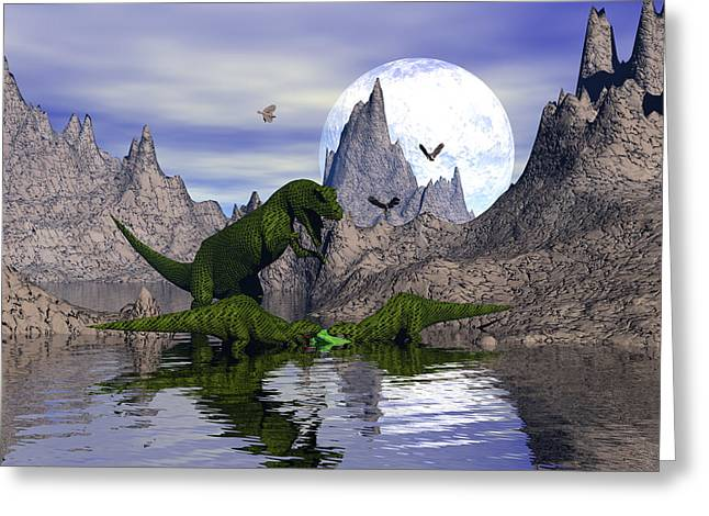 Mccoy Greeting Cards - Allosaurus family dinnertime Greeting Card by Claude McCoy
