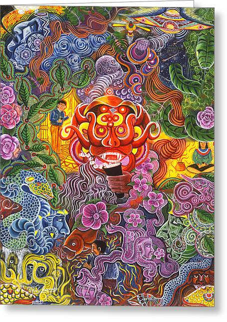 Ayahuasca Greeting Cards - Allpa Manchari Greeting Card by Pablo Amaringo