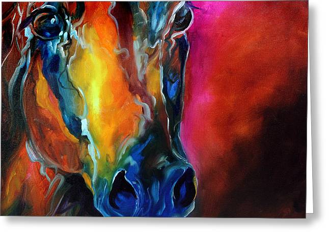 Abstract Equine Greeting Cards - Allure Arabian Greeting Card by Marcia Baldwin