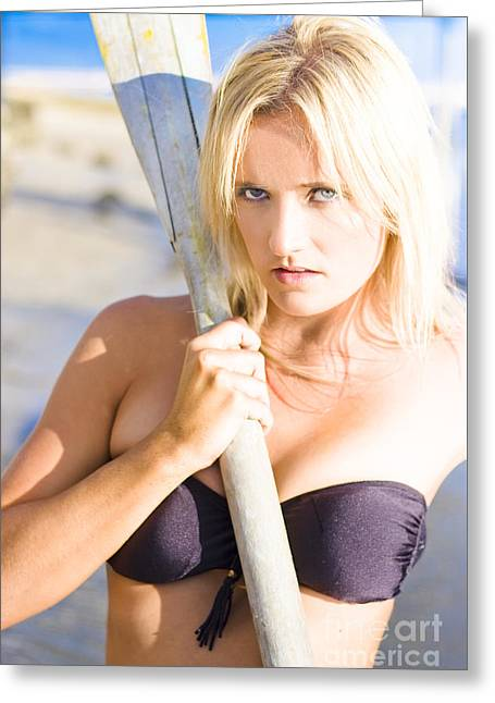 Alluring Blonde Rower Greeting Card by Jorgo Photography - Wall Art Gallery