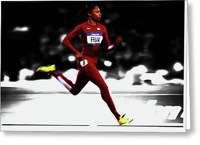 Allyson Felix In Motion Greeting Card by Brian Reaves