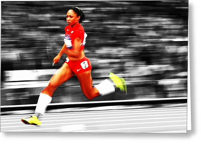 Allyson Felix In Warp Speed Greeting Card by Brian Reaves