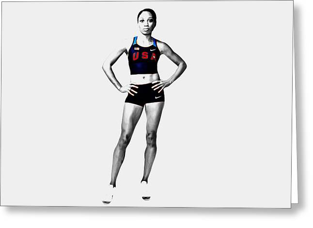 Allyson Felix Ready To Go Greeting Card by Brian Reaves