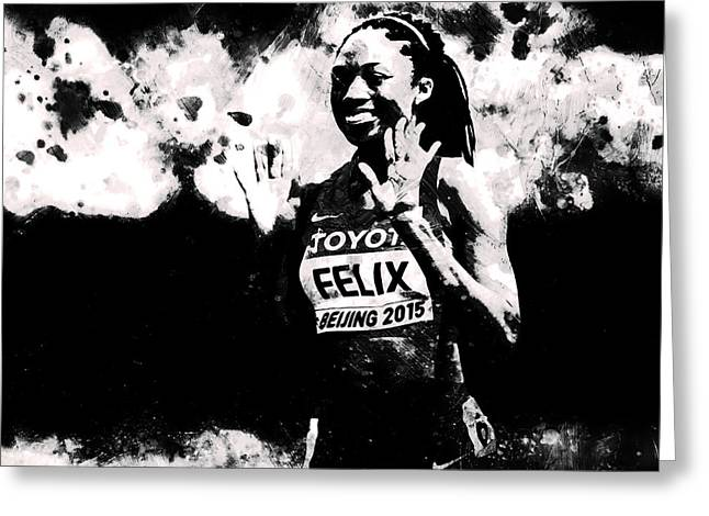 Allyson Felix S1 Greeting Card by Brian Reaves