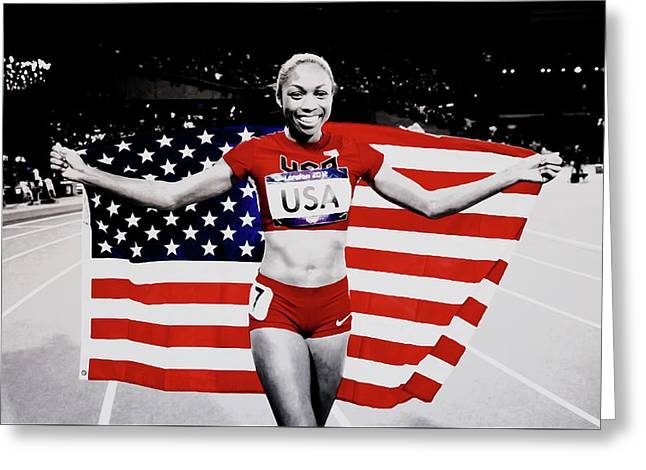 Allyson Felix Victorious Greeting Card by Brian Reaves