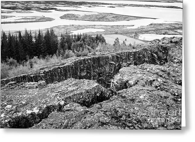 National Boundaries Greeting Cards - Almannagja fault line in the mid-atlantic ridge north american plateThingvellir national park icelan Greeting Card by Joe Fox