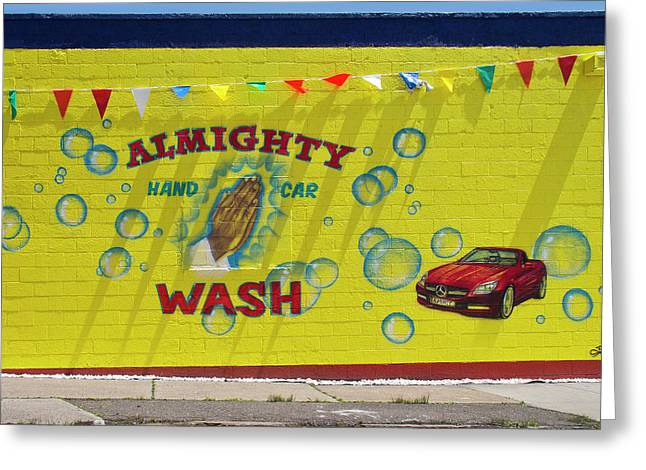 Almighty Car Wash Greeting Card by David Kyte