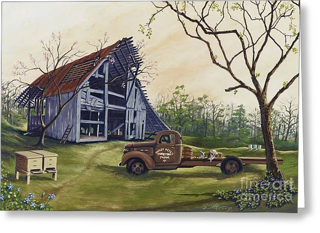 Recently Sold -  - Old Barns Greeting Cards - Almost Bee Season Greeting Card by Bill Shelton