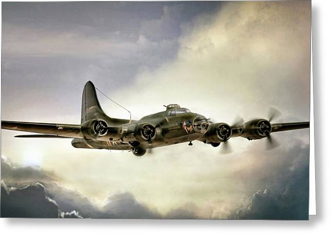 Vintage Air Planes Greeting Cards - Almost Home Memphis Belle Greeting Card by Peter Chilelli