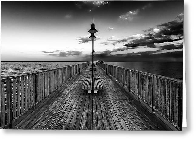 Sea Platform Photographs Greeting Cards - Almost Infinity Greeting Card by Stylianos Kleanthous