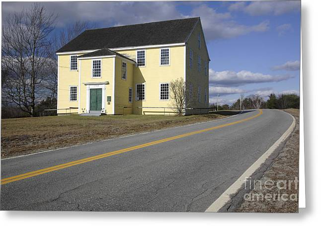 Rural Maine Roads Photographs Greeting Cards - Alna Meetinghouse - Alna Maine USA Greeting Card by Erin Paul Donovan