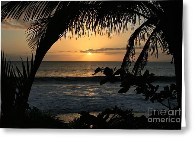 Aloha Aina the Beloved Land - Sunset Kamaole Beach Kihei Maui Hawaii Greeting Card by Sharon Mau