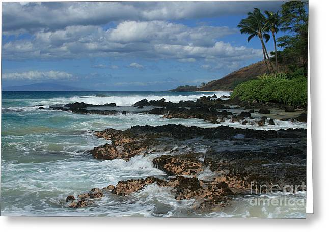 Seascape Photography Greeting Cards - Aloha Island Dreams Paako Beach Makena Secret Cove Hawaii Greeting Card by Sharon Mau