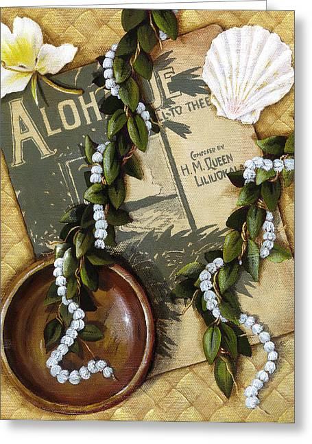 Lauhala Greeting Cards - Aloha Oe Greeting Card by Sandra Blazel - Printscapes