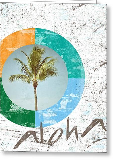 Aloha Palm Tree Greeting Card by Brandi Fitzgerald