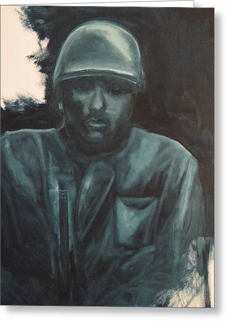 Infantryman Paintings Greeting Cards - Alone Greeting Card by Allen Ferrell