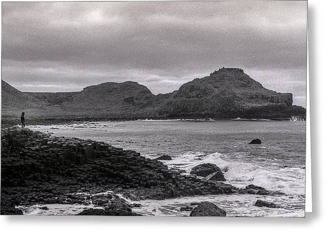 Fionn Mac Cumhaill Greeting Cards - Alone in Giants Causeway Greeting Card by Euan Cherry
