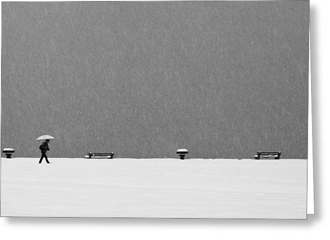 Snowstorm Greeting Cards - Alone In Snowstorm Greeting Card by Eric Monvoisin
