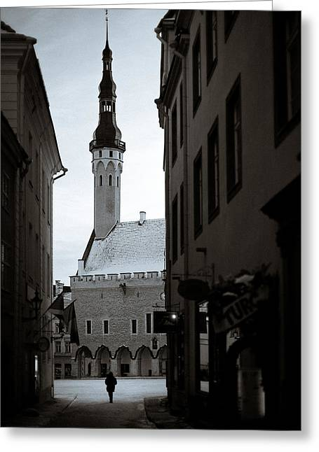 Estonia Greeting Cards - Alone in Tallinn Greeting Card by Dave Bowman
