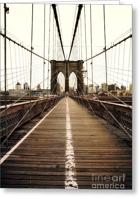 Unique Image Greeting Cards - Alone on the Brooklyn Bridge Greeting Card by John Farnan