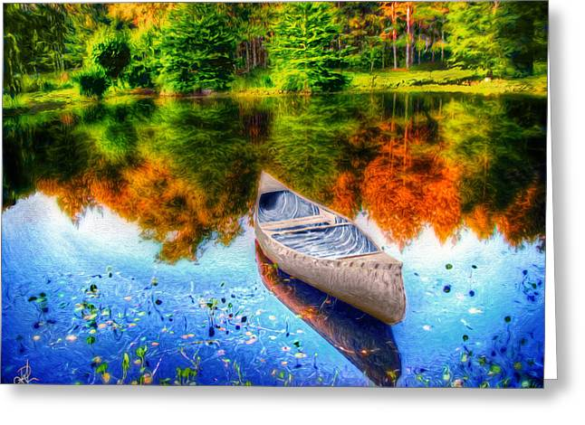Canoe Photographs Greeting Cards - Alone on the Lake Greeting Card by Pennie  McCracken
