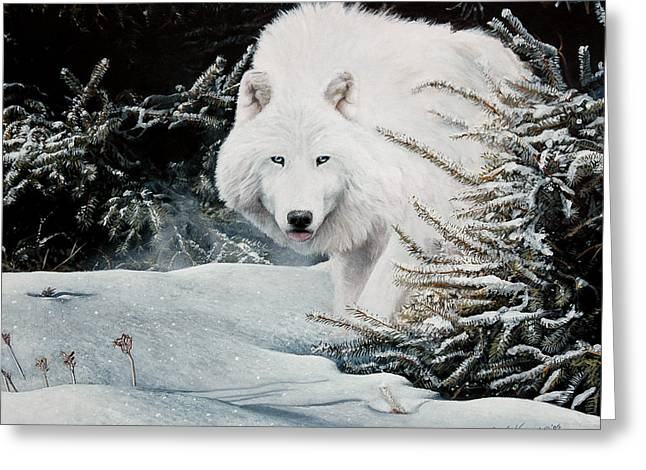 Wolf Pastels Greeting Cards - Alone On The Path Greeting Card by David Vincenzi