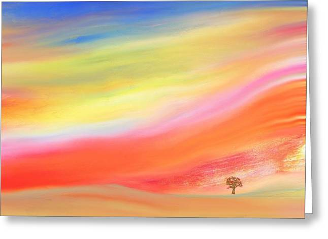 Abstract Expressionist Greeting Cards - Alone with the Sunset Greeting Card by Lenore Senior and Judith Redman