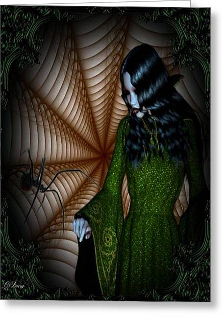 Black Widow Greeting Cards - Along Came A Spider Greeting Card by G Berry
