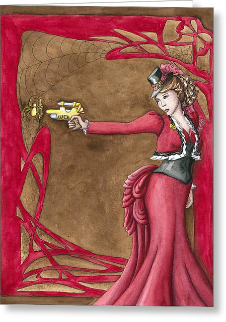 Muffet Greeting Cards - Along Came A Spider Greeting Card by Melia Newman