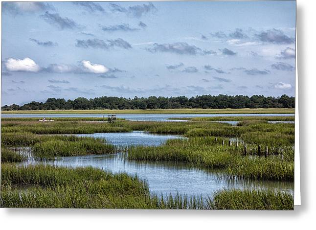 Fishing Boats Greeting Cards - Along the Marsh II Greeting Card by Christine Martin-Lizzul