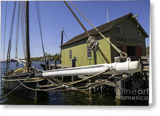 Tall Ships Greeting Cards - Along The Oyster House Greeting Card by Joe Geraci